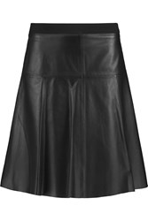 Vince Grosgrain Trimmed Leather Mini Skirt Black