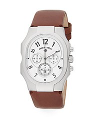 Philip Stein Teslar Mid Size Classic Chronograph Steel And Embossed Leather Watc Chocolate