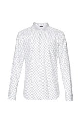 French Connection Men's Polka Dot Slim Fit Long Sleeve Button Down Shirt White