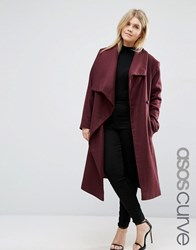 Asos Curve Waterfall Trapeze Coat Berry Red