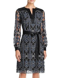 Tory Burch Harbor Graphic Lace Dress Black Blue Tribal Lace