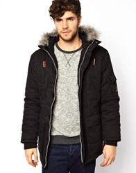 Voi Jeans Voi Padded Parka Jacket With Hood Black
