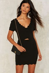 Neela Scalloped Mini Dress Black