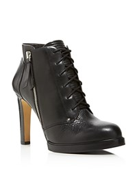 French Connection Beatrix Lace Up High Heel Booties Black