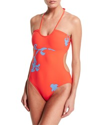 Tory Burch Talisay Cutout Halter One Piece Swimsuit Poppy Red Pylos Women's
