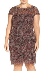 Tadashi Shoji Plus Size Women's Rose Embroidered Lace Sheath Dress