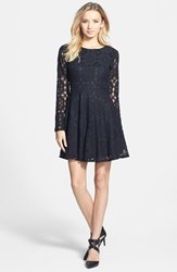 Junior Women's Painted Threads Floral Lace Skater Dress Black
