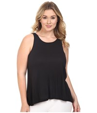 Yummie Tummie Plus Size 2X1 Pima Rib Racer Tank Top Black Women's Sleeveless