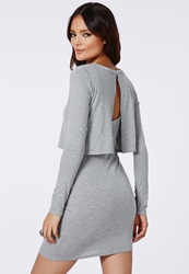 Missguided Grey 2 In 1 Low Back T Shirt Dress Grey Marl