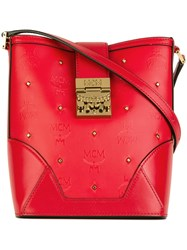 Mcm Gold Tone Studded Crossbody Bag Red
