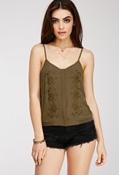 Forever 21 Embroidered Chiffon Cami Top Olive