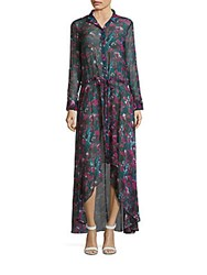 Haute Hippie Printed High Low Silk Dress Cotton Gin Floral