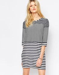 Vero Moda Mixed Stripe 3 4 Sleeve T Shirt Dress White