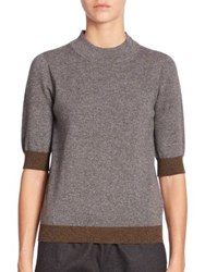 Piazza Sempione Elbow Length Ribbed Cashmere Sweater Grey Brown