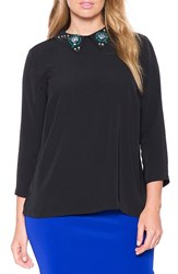Plus Size Women's Eloquii Embellished Collar Back Button Blouse