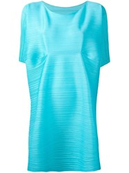 Issey Miyake Pleats Please By Boat Neck Tunic Blue