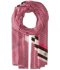 Tory Burch Gemini Link Striped Oblong Hibiscus Flower Scarves Pink