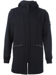 Stone Island Hooded Zip Coat Black