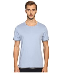 Vince Pima Double Layer Short Sleeve Reversible Crew Infinity Blue Heather Cinder Men's Clothing