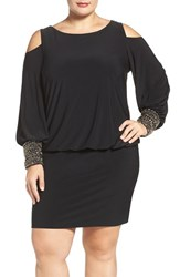 Xscape Evenings Plus Size Women's Embellished Cuff Cold Shoulder Blouson Jersey Dress