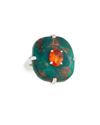 Stephen Dweck Turquoise And Mexican Fire Opal Ring