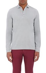 Barneys New York Men's Long Sleeve Polo Shirt Grey