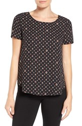 Pleione Women's Pleat Back Woven Print Top Black Combo Star Prism Print
