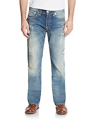 True Religion Distressed Flap Pocket Straight Leg Jeans Blue