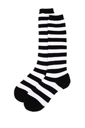 Sock It To Me Black And White Striped Over The Knee Socks Multi