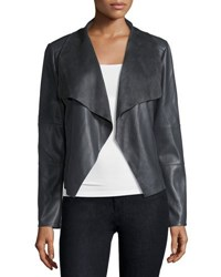 Cusp By Neiman Marcus Faux Leather Open Front Jacket Gray