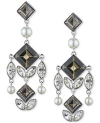 Givenchy Silver Tone Square Crystal And Imitation Pearl Chandelier Earrings