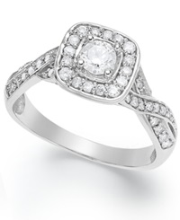 Macy's Certified Round Cut Diamond Engagement Ring In Sterling Silver 5 8 Ct. T.W.