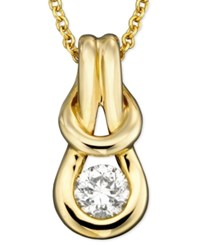 Macy's Diamond Knot Pendant Necklace In 14K Gold 1 4 Ct. T.W.