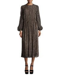 Michael Kors Devore Long Sleeve Peasant Dress Chocolate