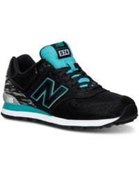 New Balance Men's 574 Summer Waves Casual Sneakers From Finish Line Black Teal