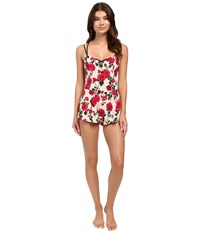 Betsey Johnson Stretch Crepe Teddy Avantgarde Rose Women's Swimwear Multi