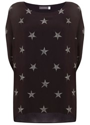 Mint Velvet Charcoal Star Embroidered Cocoon Tee Grey