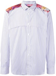 Comme Des Garcons Homme Plus Floral Yoke Striped Shirt White