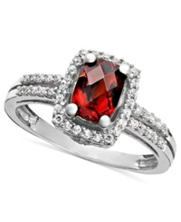 Macy's 14K White Gold Ring Garnet 1 1 10 Ct. T.W. And Diamond 1 6 Ct. T.W. Rectangle
