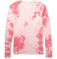 The Elder Statesman Tie Dye Knitted Cashmere And Silk Blend T Shirt Pastel Pink