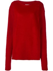 Msgm Round Neck Pullover Red