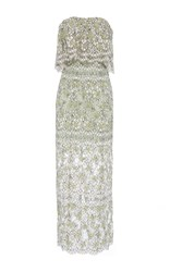 Katie Ermilio Cinched Ruffle Embroidered Lace Midi Dress Green