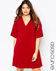 Asos Curve V Neck Tunic In Heavy Crepe With Seam Detail Oxblood