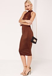 Missguided High Neck Open Back Sleeveless Midi Dress Brown Rust