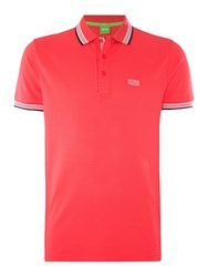 Hugo Boss Paddy Regular Fit Tipped Logo Polo Shirt Hot Pink