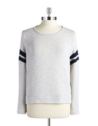 Casual Couture By Green Envelope Stripe Accented Sweater Light Grey