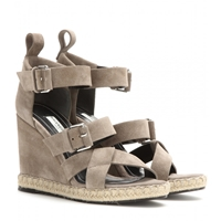 Balenciaga Rope Track Suede Wedge Sandals Galet