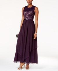R And M Richards Sequined Lace Chiffon Gown Plum