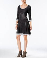 Nine West Fit And Flare Sweater Dress Gray