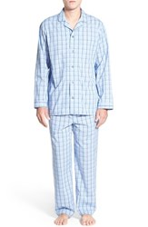 Men's Nordstrom Men's Shop Poplin Pajama Set Navy Blue Large Plaid